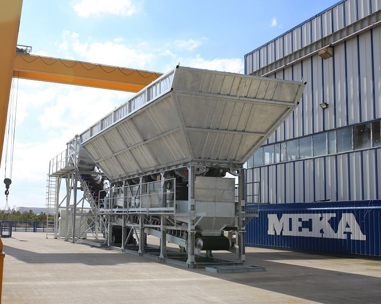 MEKA dry batching concrete plant has higher capacity and lower energy consumption