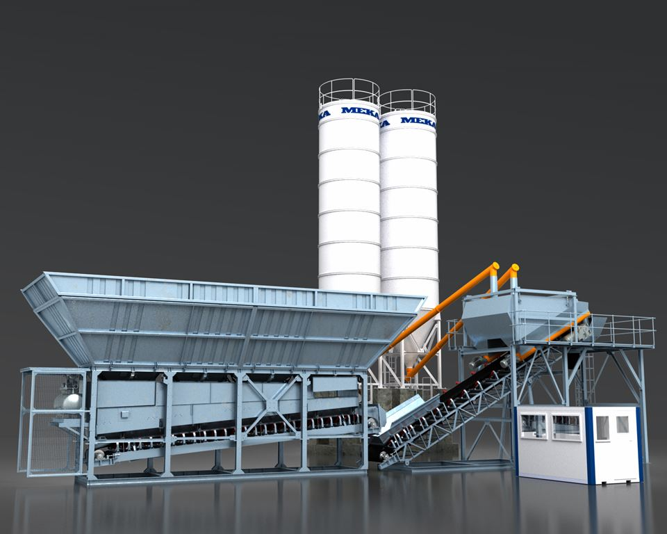 MEKA dry batching concrete plant is designed for easy setup and minimum foundation requirements